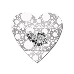 Elegant Mandala Elephant In Black And Wihte Heart Magnet