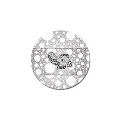 Elegant Mandala Elephant In Black And Wihte Golf Ball Marker by FantasyWorld7