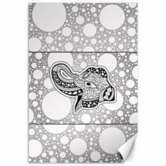 Elegant Mandala Elephant In Black And Wihte Canvas 12  X 18  by FantasyWorld7