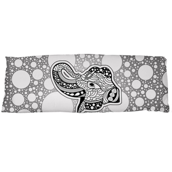 Elegant Mandala Elephant In Black And Wihte Body Pillow Case (Dakimakura)