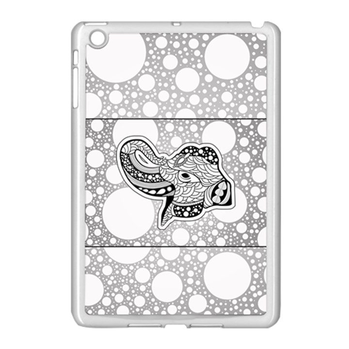 Elegant Mandala Elephant In Black And Wihte Apple iPad Mini Case (White)