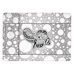 Elegant Mandala Elephant In Black And Wihte Samsung Galaxy Tab 10 1  P7500 Flip Case