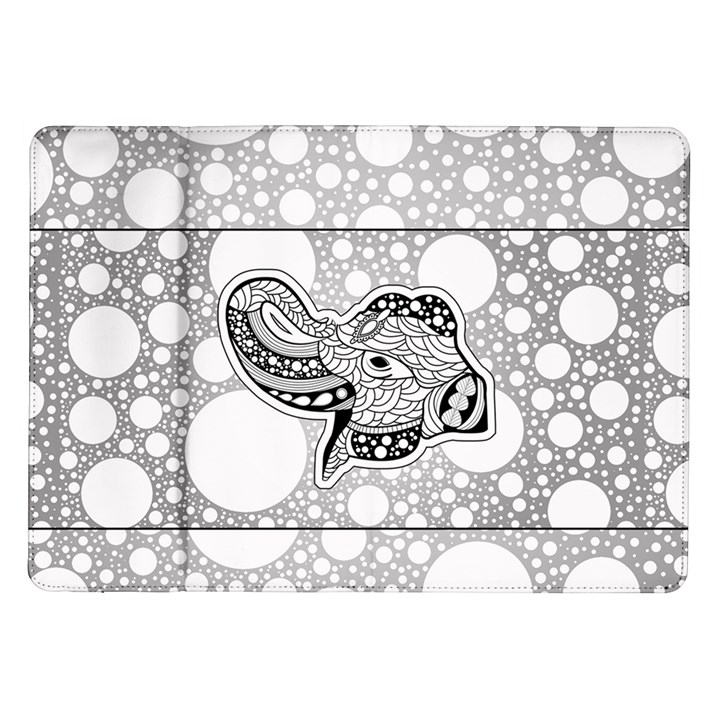 Elegant Mandala Elephant In Black And Wihte Samsung Galaxy Tab 10.1  P7500 Flip Case