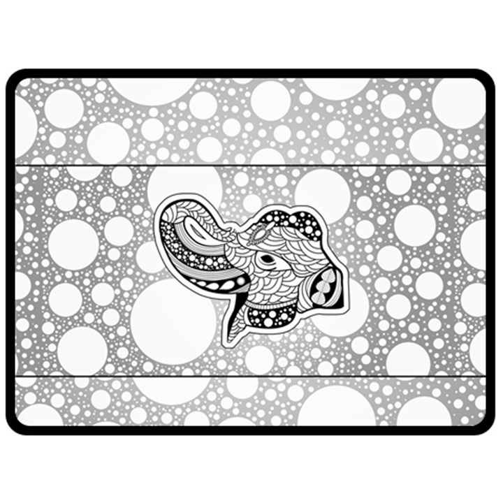 Elegant Mandala Elephant In Black And Wihte Double Sided Fleece Blanket (Large)