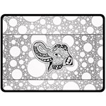 Elegant Mandala Elephant In Black And Wihte Double Sided Fleece Blanket (Large)  80 x60  Blanket Back