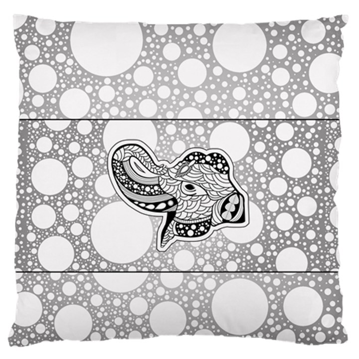 Elegant Mandala Elephant In Black And Wihte Large Flano Cushion Case (Two Sides)