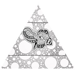 Elegant Mandala Elephant In Black And Wihte Wooden Puzzle Triangle