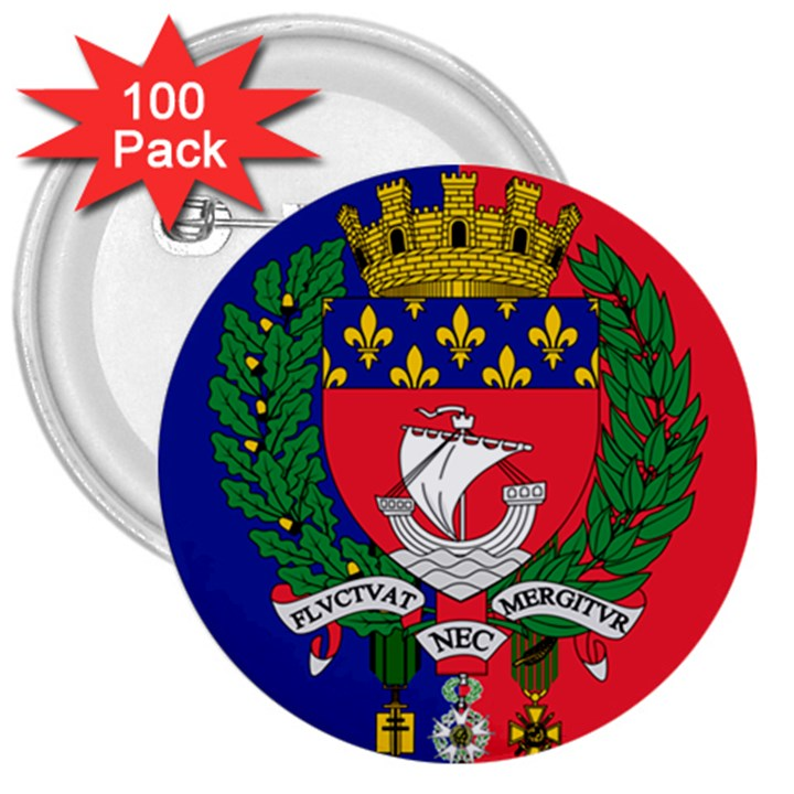 Flag of Paris  3  Buttons (100 pack)