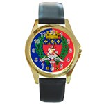 Flag of Paris  Round Gold Metal Watch Front