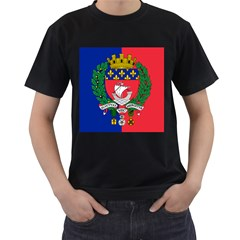 Flag of Paris  Men s T-Shirt (Black) (Two Sided)
