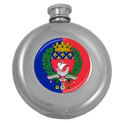 Flag Of Paris  Round Hip Flask (5 Oz) by abbeyz71