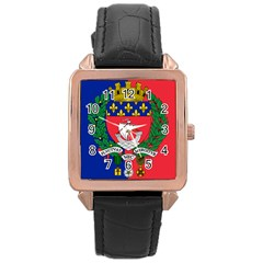 Flag Of Paris  Rose Gold Leather Watch  by abbeyz71