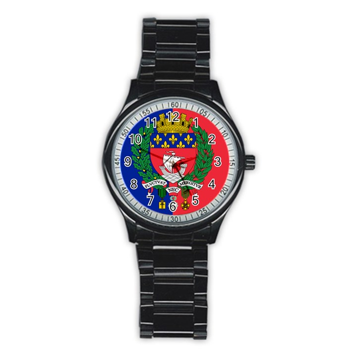 Flag of Paris  Stainless Steel Round Watch