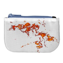 Can Walk On Fire, White Background Large Coin Purse by picsaspassion