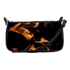Can Walk On Volcano Fire, Black Background Shoulder Clutch Bag by picsaspassion