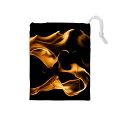 Can Walk On Volcano Fire, Black Background Drawstring Pouch (medium) by picsaspassion