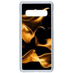 Can Walk On Volcano Fire, Black Background Samsung Galaxy S10 Seamless Case(white) by picsaspassion
