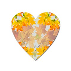 Autumn Maple Leaves, Floral Art Heart Magnet by picsaspassion