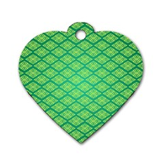 Pattern Texture Geometric Green Dog Tag Heart (two Sides)