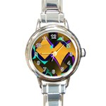 Geometric Gradient Psychedelic Round Italian Charm Watch Front