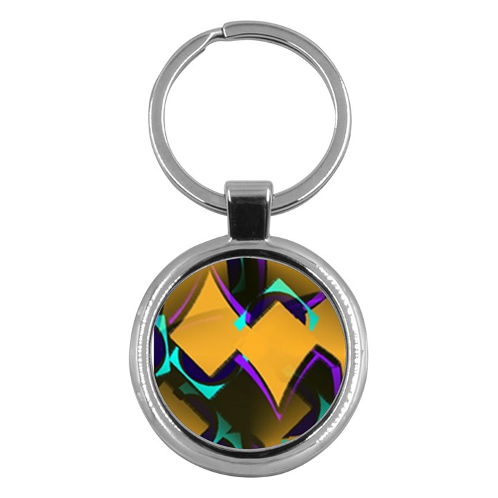 Geometric Gradient Psychedelic Key Chain (Round)