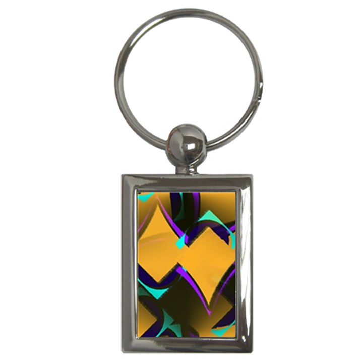 Geometric Gradient Psychedelic Key Chain (Rectangle)
