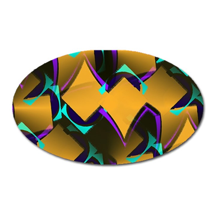 Geometric Gradient Psychedelic Oval Magnet