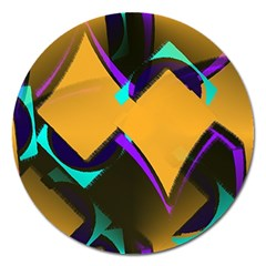 Geometric Gradient Psychedelic Magnet 5  (round)