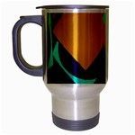 Geometric Gradient Psychedelic Travel Mug (Silver Gray) Left