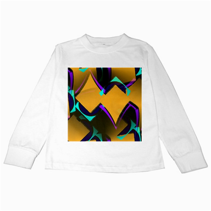 Geometric Gradient Psychedelic Kids Long Sleeve T-Shirts