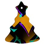 Geometric Gradient Psychedelic Christmas Tree Ornament (Two Sides) Back