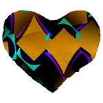 Geometric Gradient Psychedelic Large 19  Premium Heart Shape Cushions Front