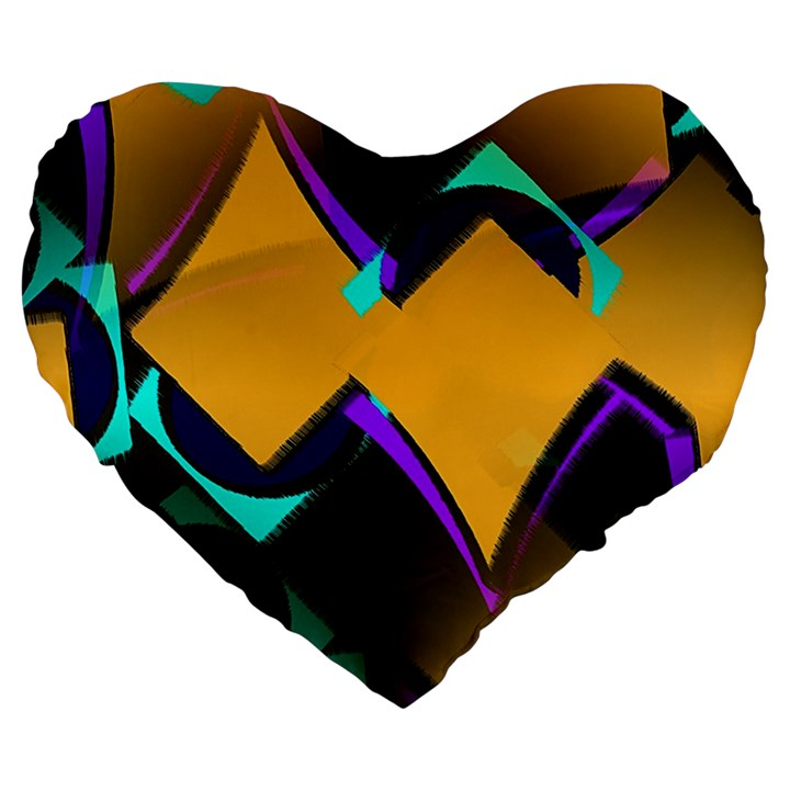 Geometric Gradient Psychedelic Large 19  Premium Heart Shape Cushions