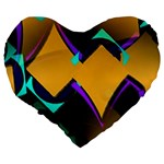 Geometric Gradient Psychedelic Large 19  Premium Heart Shape Cushions Back