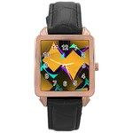 Geometric Gradient Psychedelic Rose Gold Leather Watch  Front