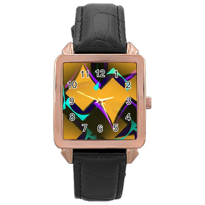 Geometric Gradient Psychedelic Rose Gold Leather Watch