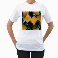Geometric Gradient Psychedelic Women s T-shirt (white)