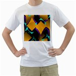 Geometric Gradient Psychedelic Men s T-Shirt (White)  Front