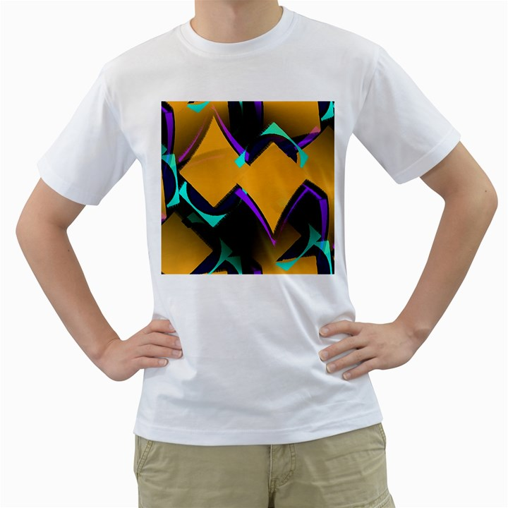 Geometric Gradient Psychedelic Men s T-Shirt (White)
