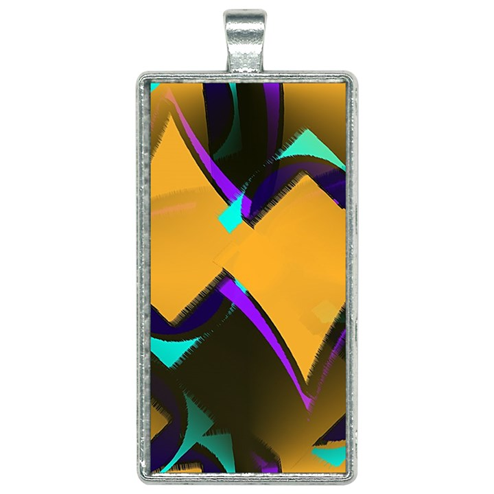 Geometric Gradient Psychedelic Rectangle Necklace
