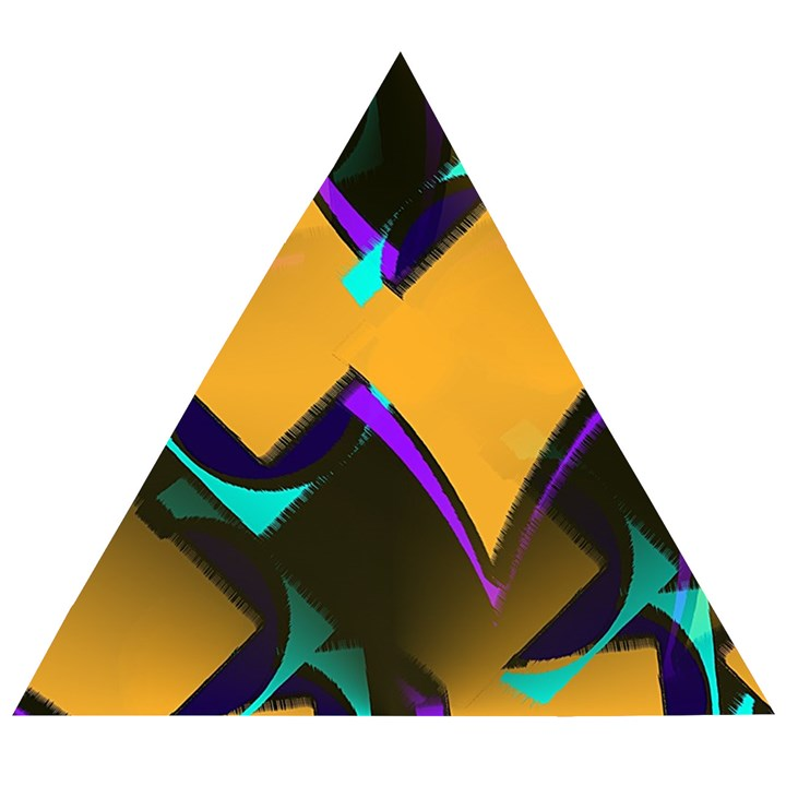 Geometric Gradient Psychedelic Wooden Puzzle Triangle