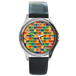 Background Colorful Abstract Round Metal Watch Front
