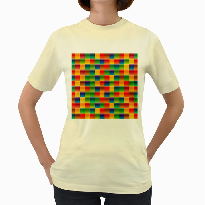 Background Colorful Abstract Women s Yellow T-Shirt