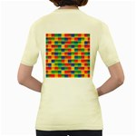 Background Colorful Abstract Women s Yellow T-Shirt Back