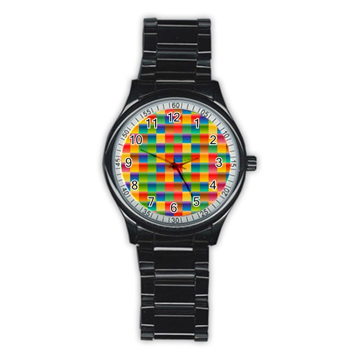 Background Colorful Abstract Stainless Steel Round Watch