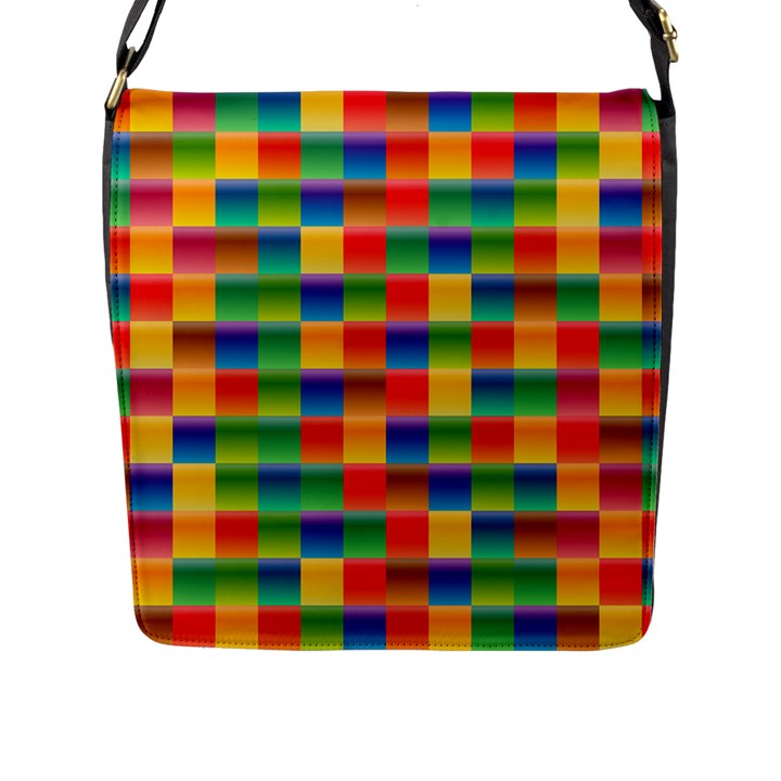 Background Colorful Abstract Flap Closure Messenger Bag (L)