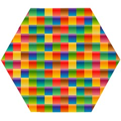Background Colorful Abstract Wooden Puzzle Hexagon
