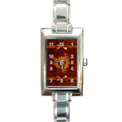 Beautiful Heart With Leaves Rectangle Italian Charm Watch