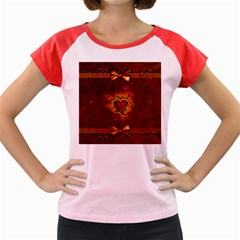 Beautiful Heart With Leaves Women s Cap Sleeve T-Shirt