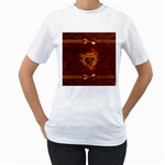 Beautiful Heart With Leaves Women s T-Shirt (White) (Two Sided) Front